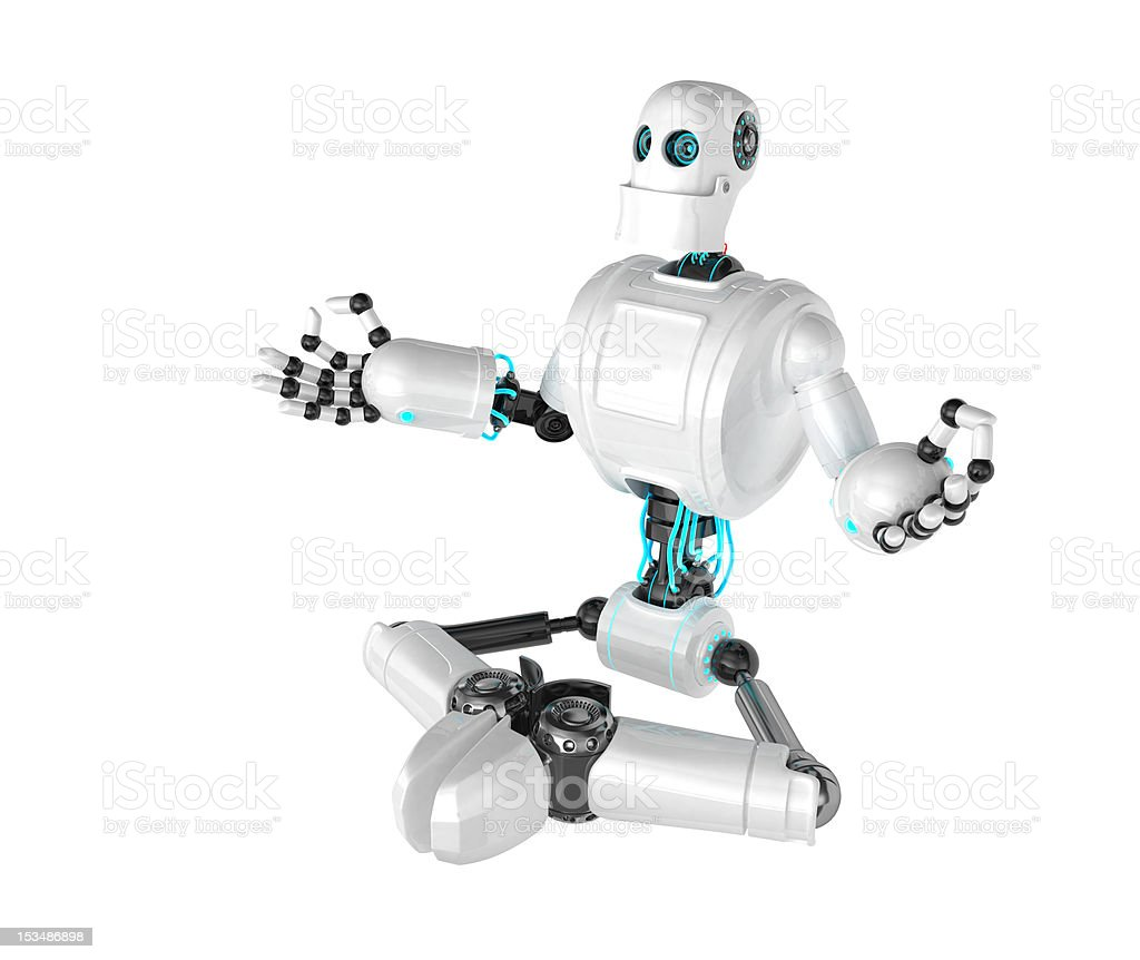 Robot sitting in lotus position royalty-free stock photo