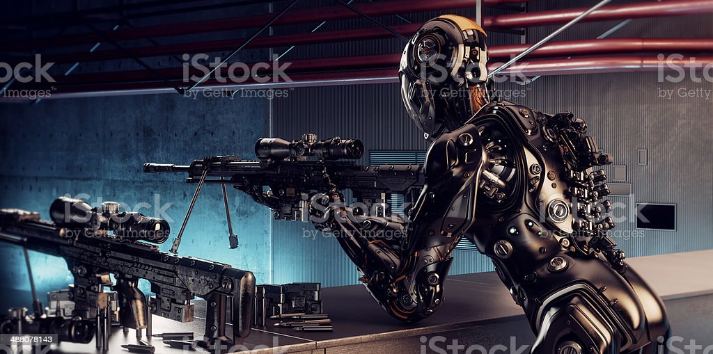 Robot sniper royalty-free stock photo