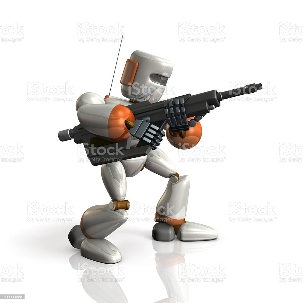 Robot Soldier sets up a rifle. stock photo