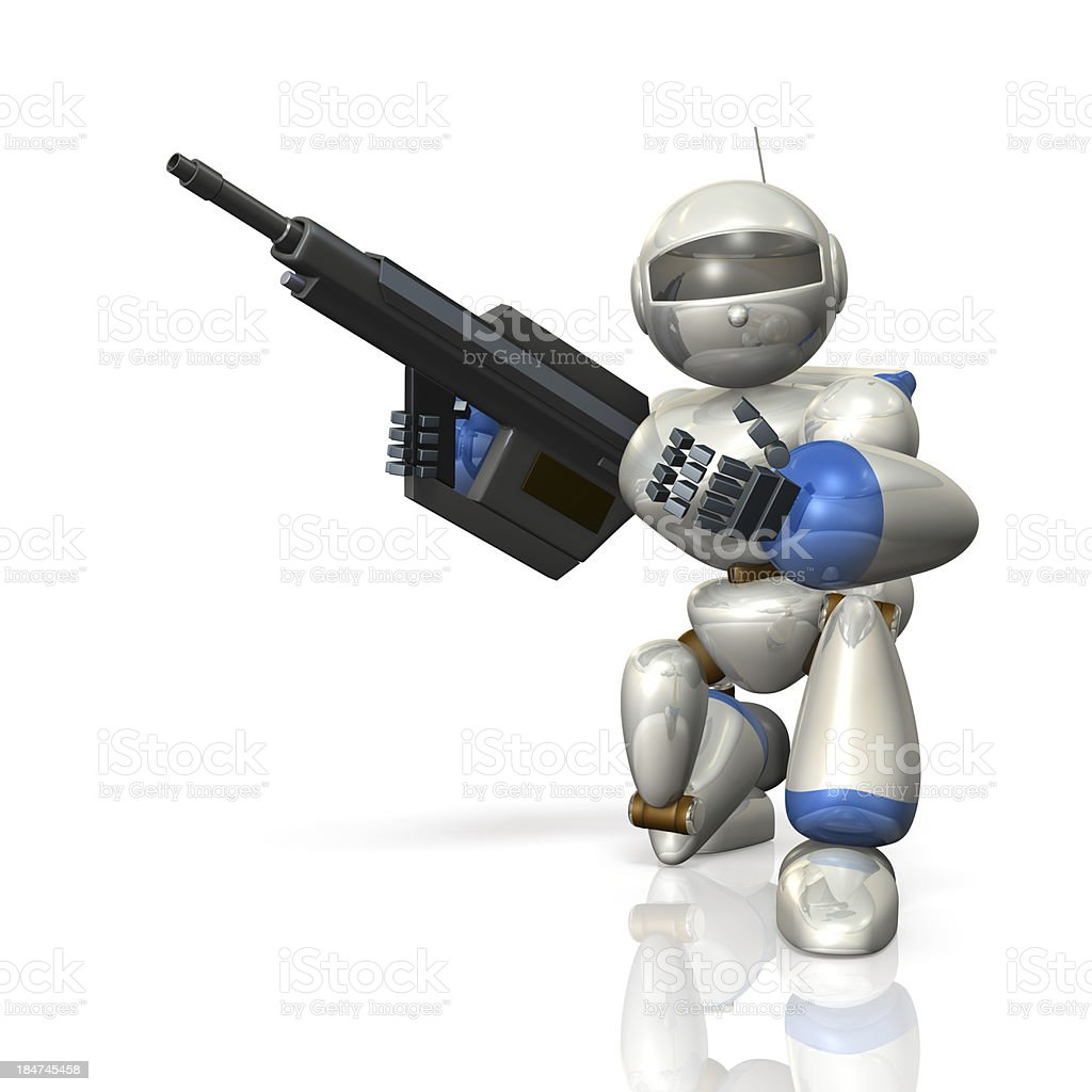 Robot soldiers, are wary with a rifle. royalty-free stock photo
