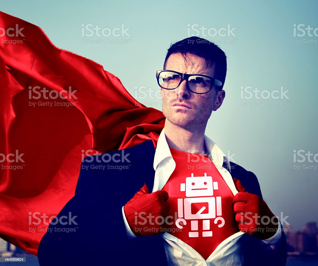 Robot Strong Superhero Success Professional Empowerment Stock Co stock photo