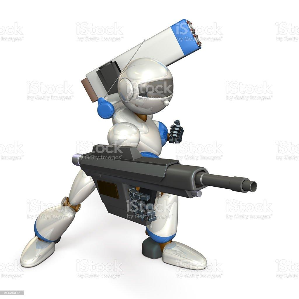 Robot to assault stock photo
