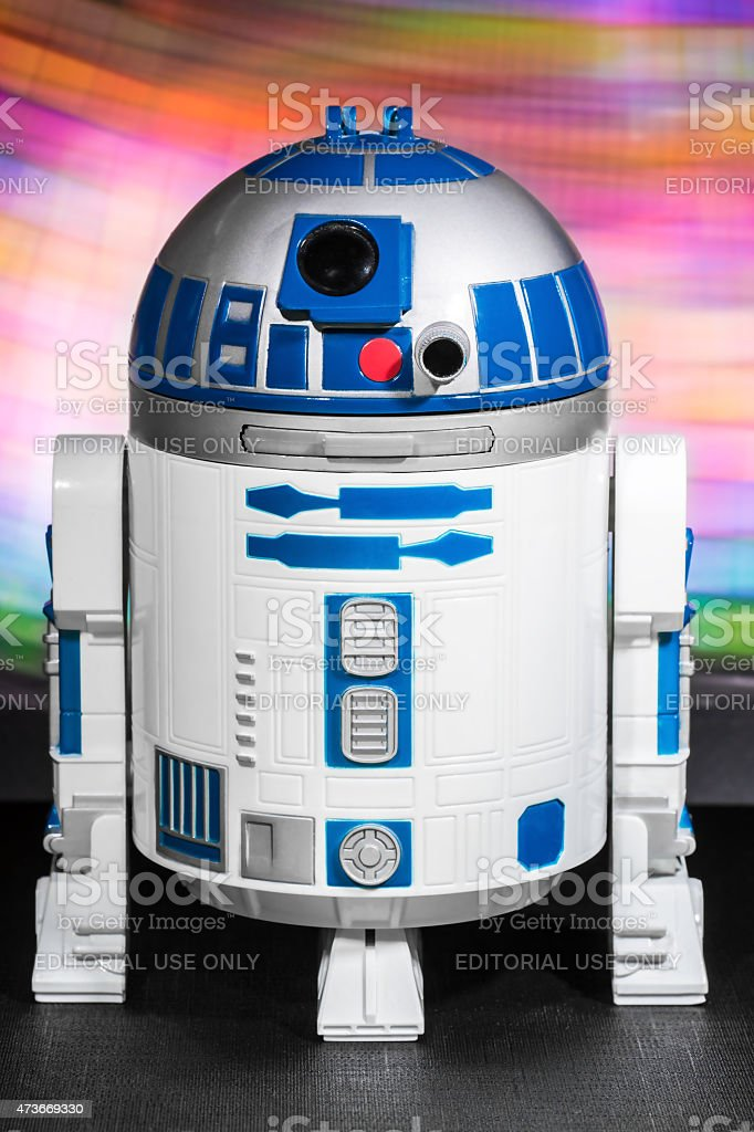 R2-D2 robot toy from Star Wars saga movie stock photo