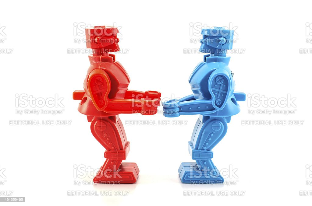 robot toy ready to fight stock photo