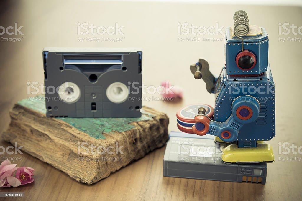 Robot Toys  and Mini DV Cassettes stock photo