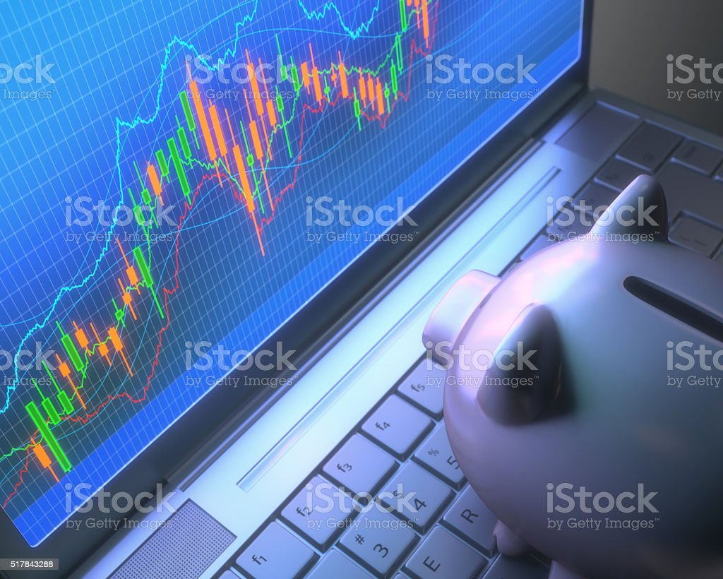 Robot Trading System And Piggy Bank stock photo