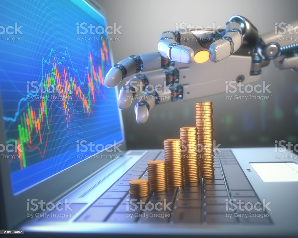 Robot Trading System On The Stock Market stock photo