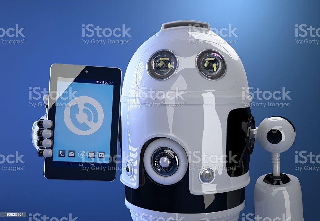 Robot using his tablet computer. Technology concept. Contains cl stock photo
