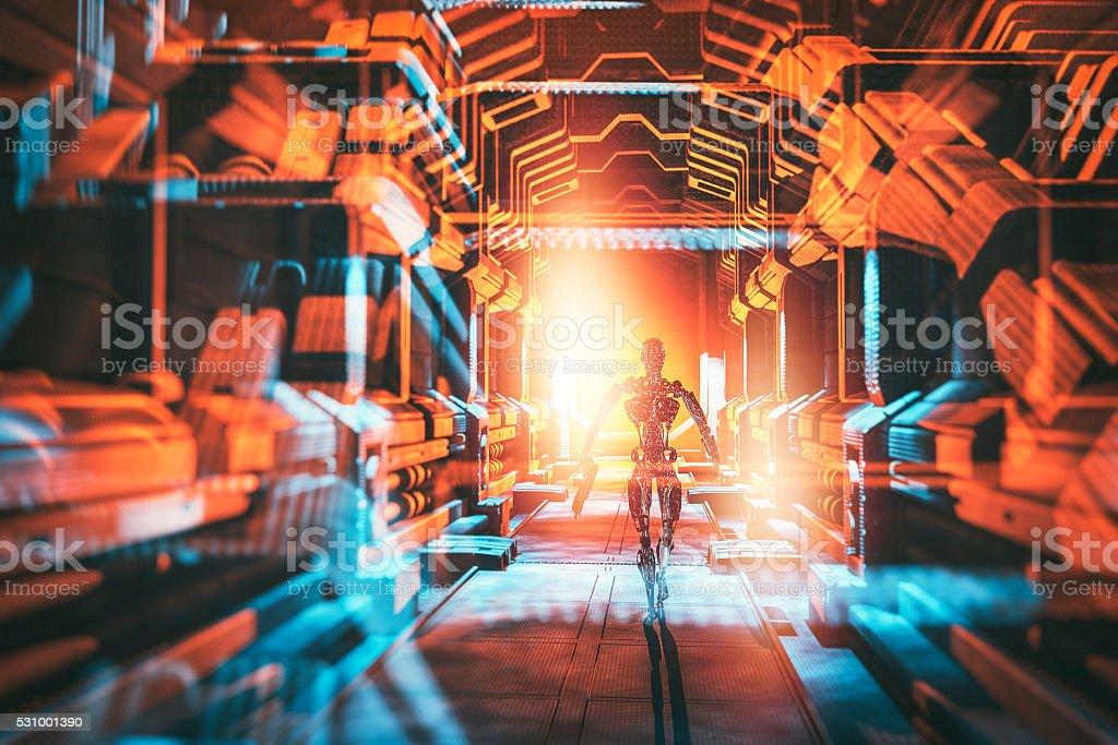 Robot walking on the spaceship stock photo