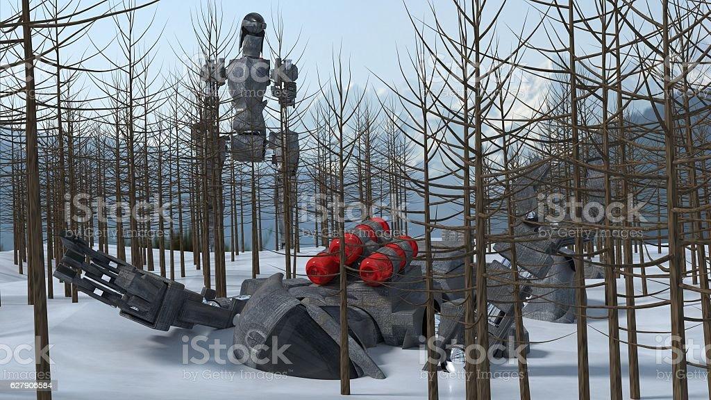robot war on ice stock photo