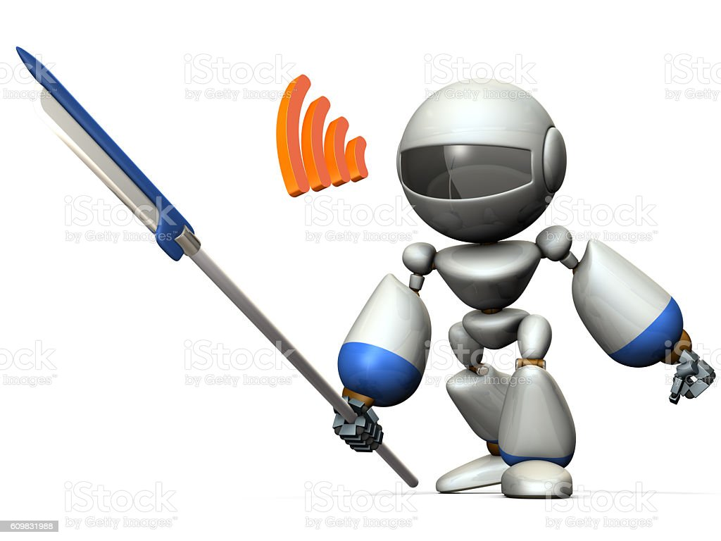 Robot warrior with a large spear. stock photo