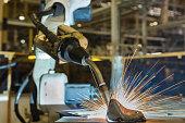 Robot welding in automotive industrail factory