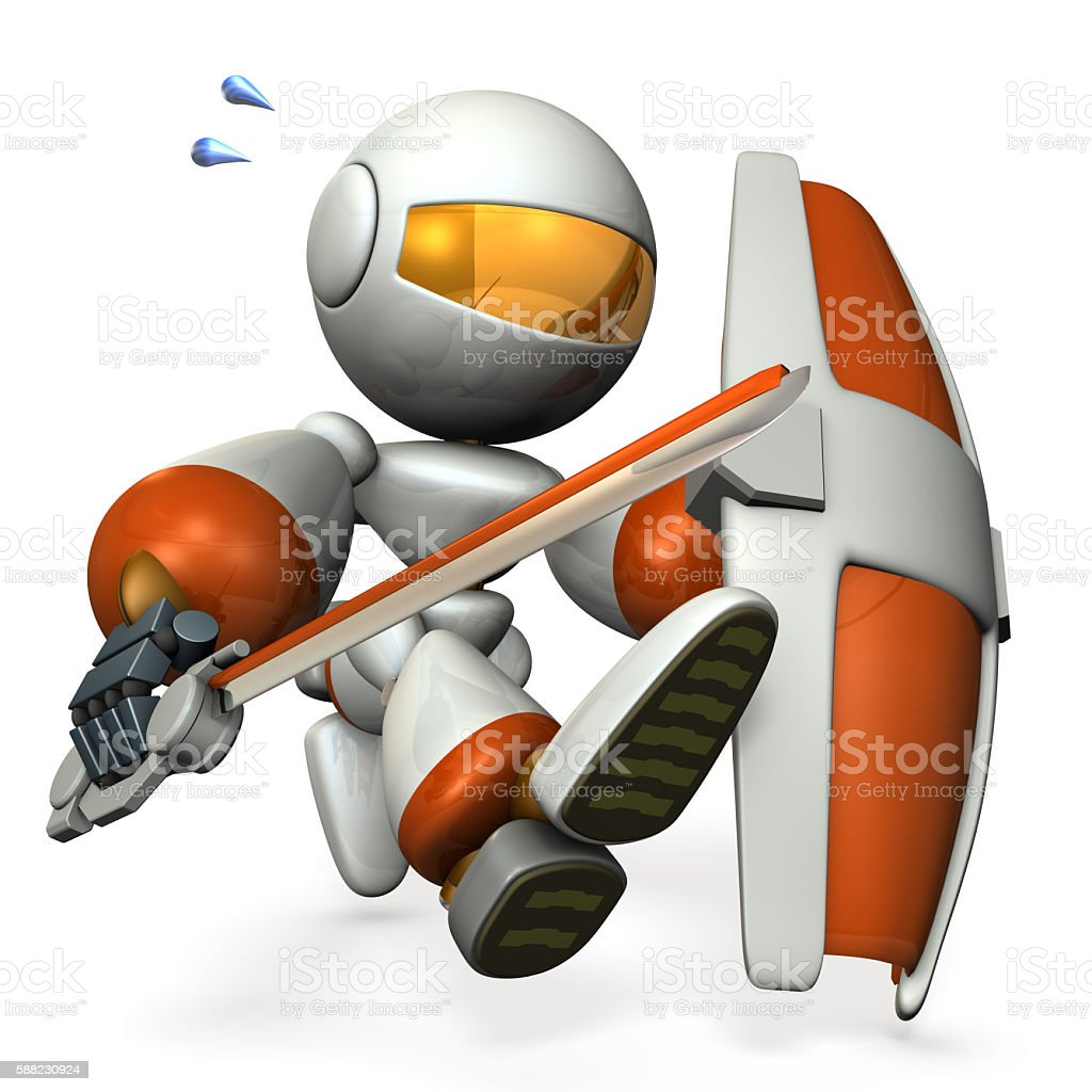 Robot with a big sword and shield. stock photo