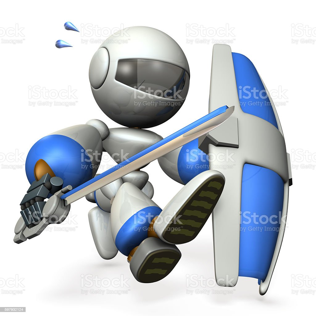 Robot with a big sword and shield, stock photo