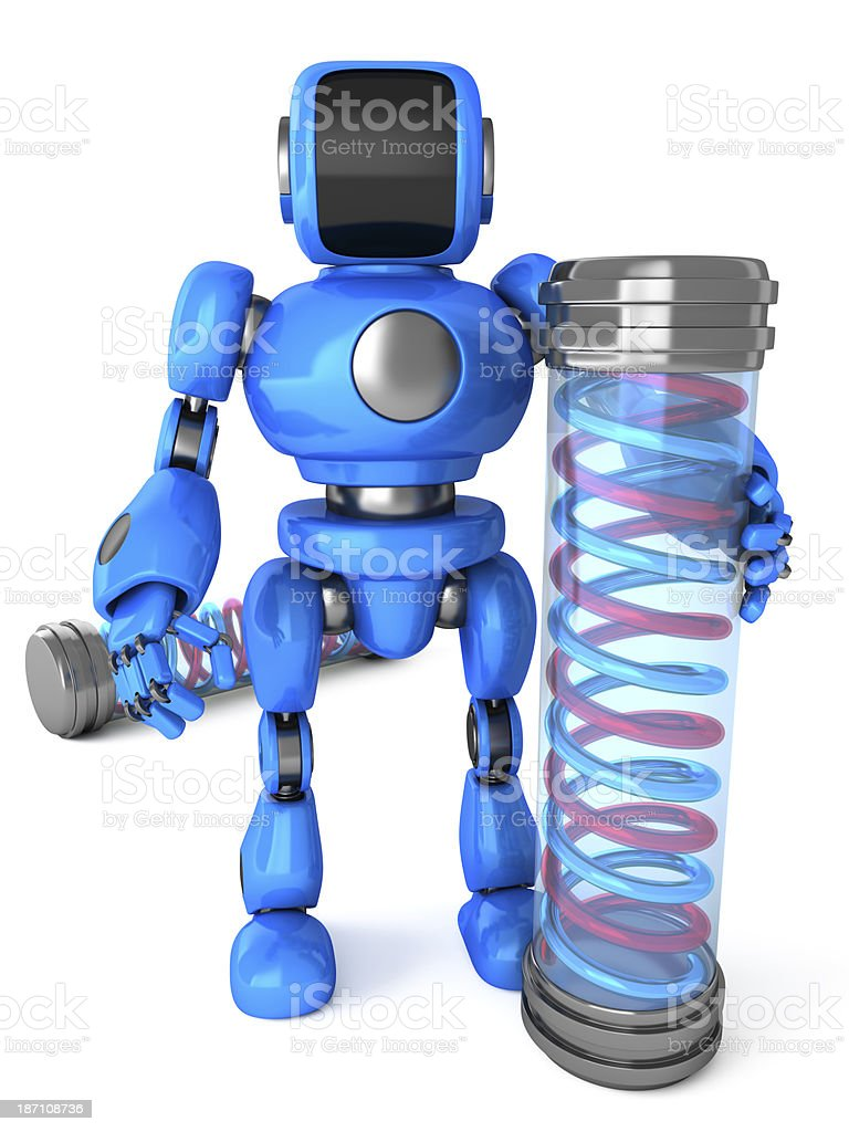 Robot with a chemical capsule royalty-free stock photo