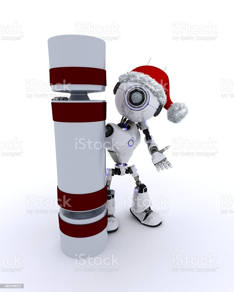Robot with a christmas cracker stock photo