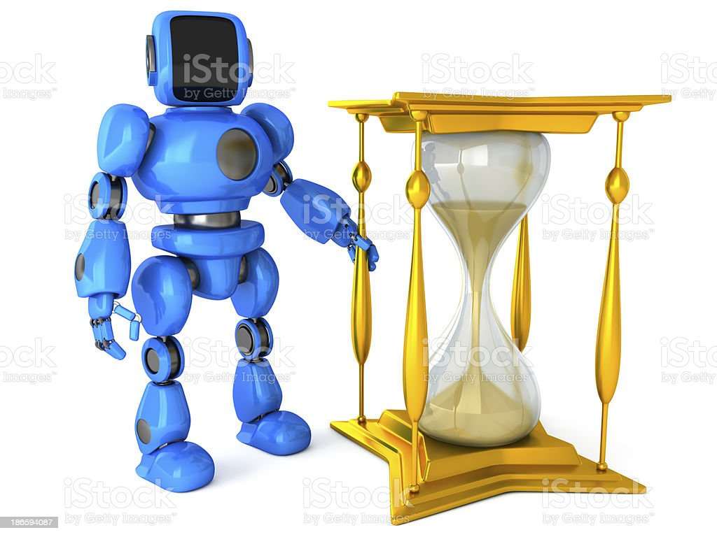 Robot with a hourglass royalty-free stock photo