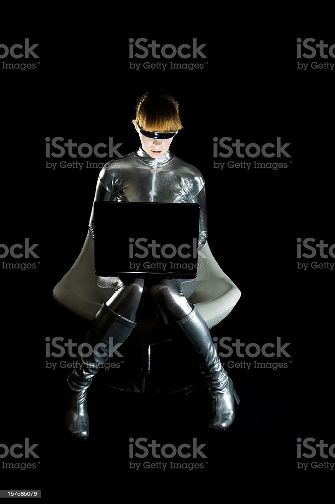 Robot with a Laptop stock photo