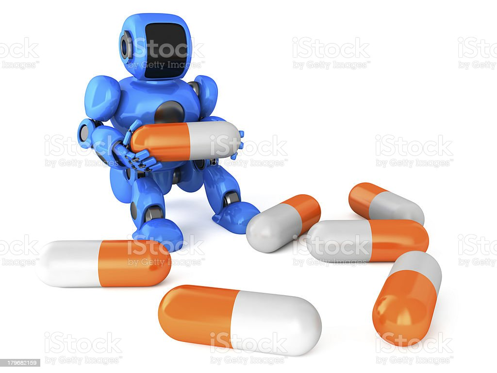 Robot with a pills royalty-free stock photo