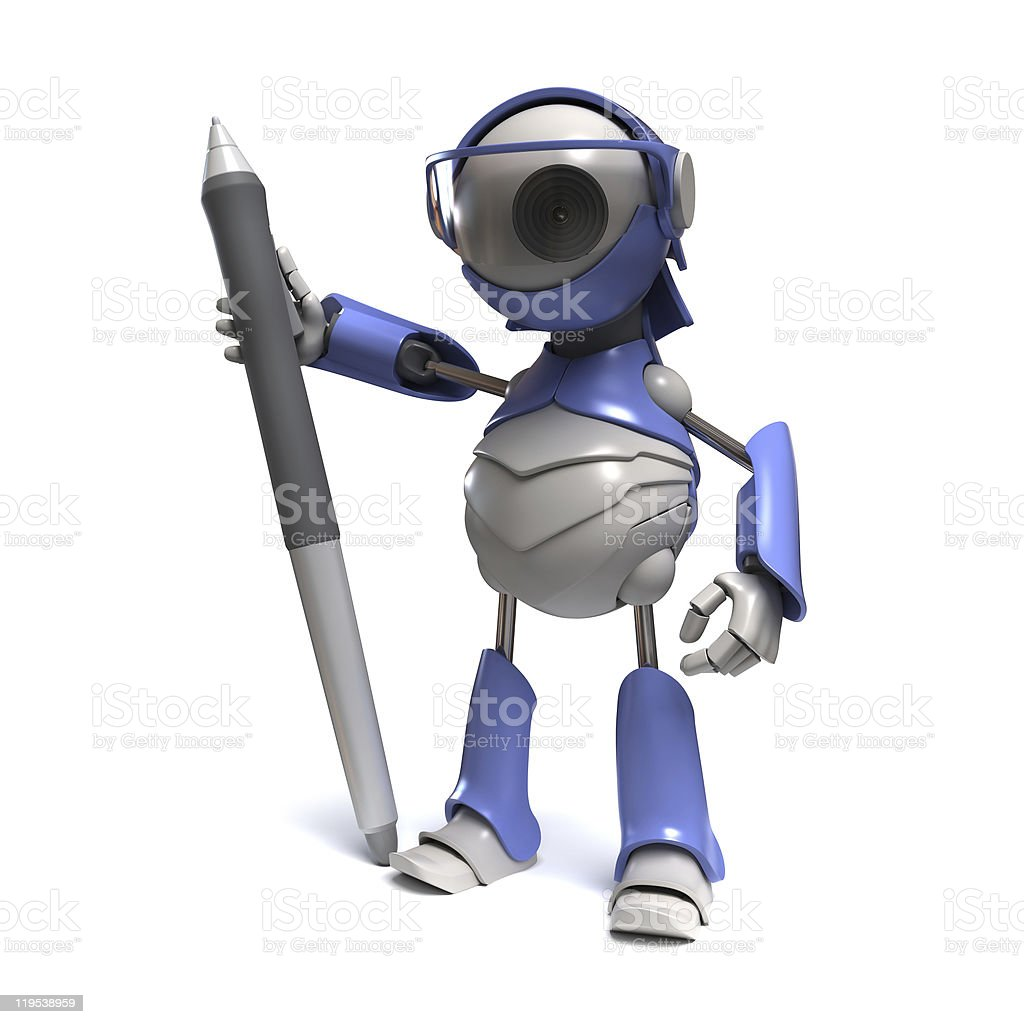 Robot with a stylus royalty-free stock photo