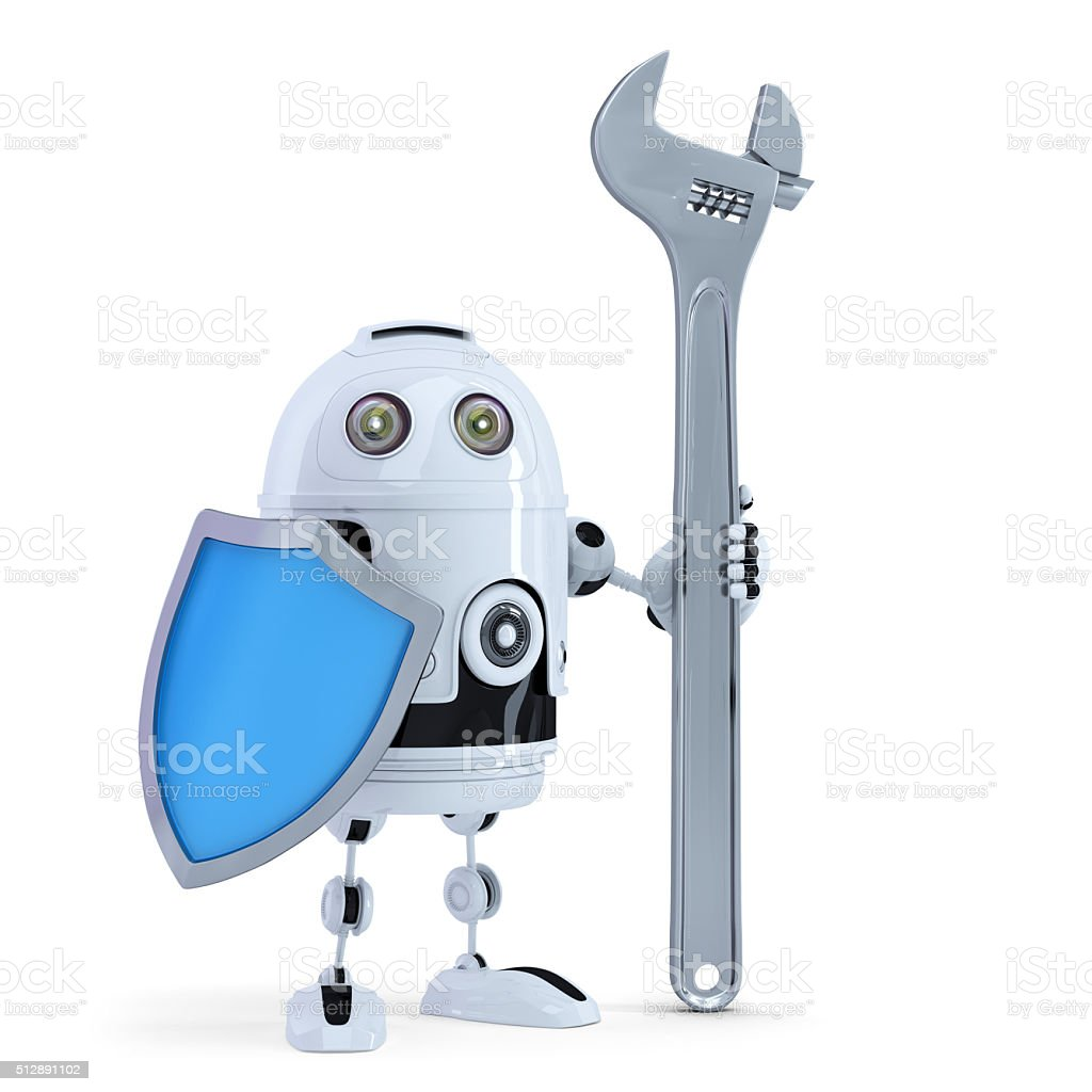 3D Robot with adjustable wrench and shield. Isolated. Clipping path stock photo