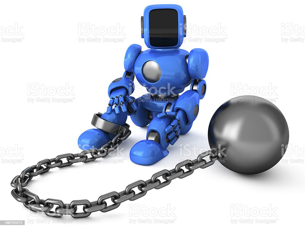 Robot with ball and chain stock photo