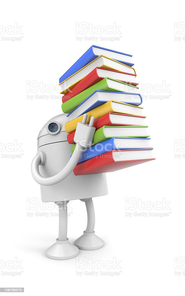 Robot with books royalty-free stock photo