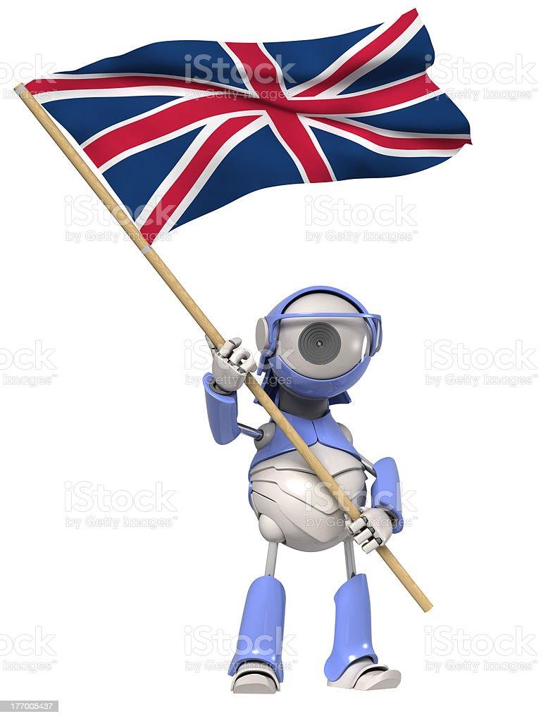 Robot with British flag stock photo