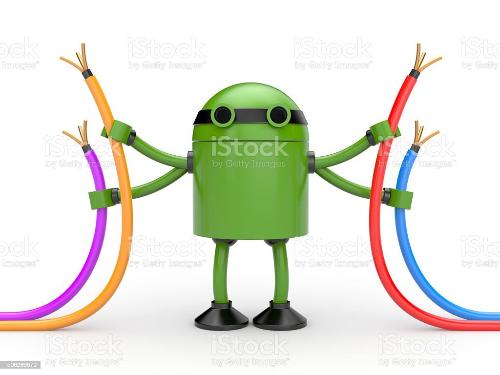 Robot with cables stock photo