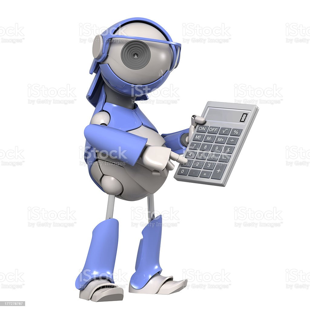 Robot with calculator royalty-free stock photo