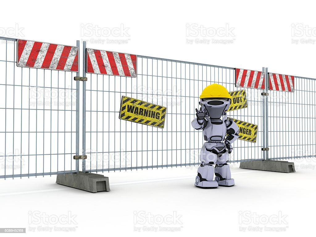 Robot with construction barrier fence stock photo