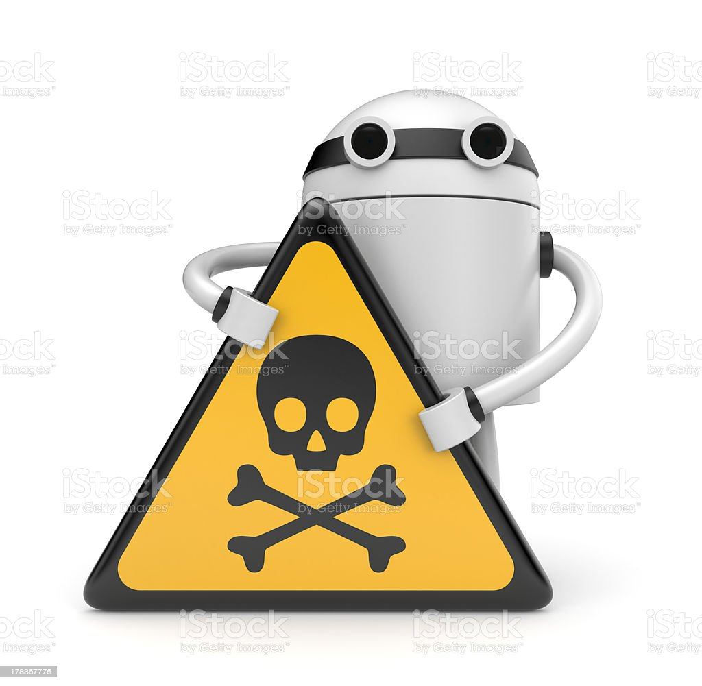 Robot with danger skull sign royalty-free stock photo