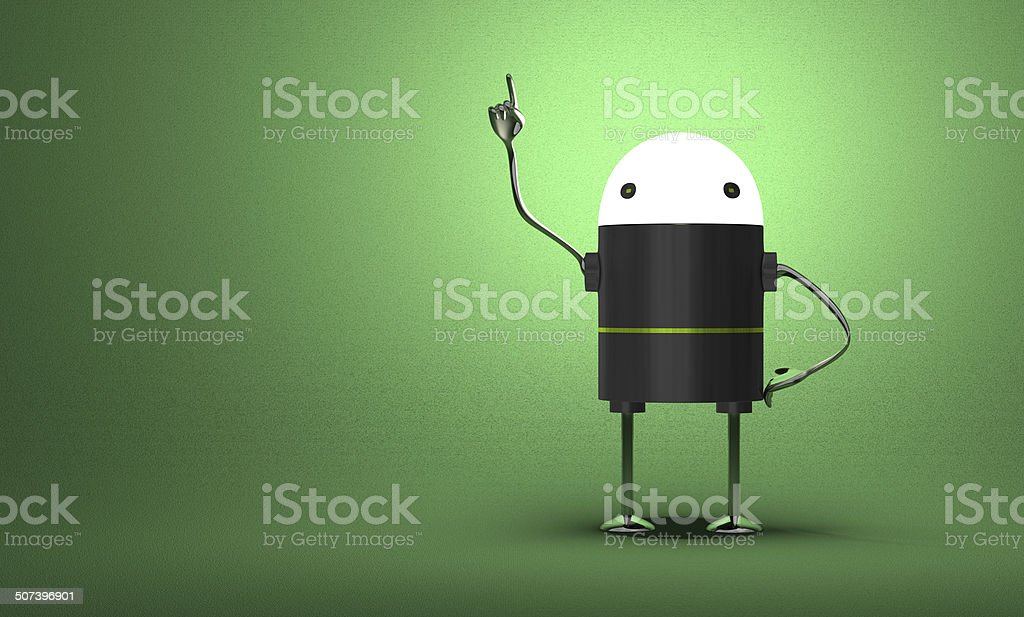 Robot with glowing head in moment of insight royalty-free stock photo