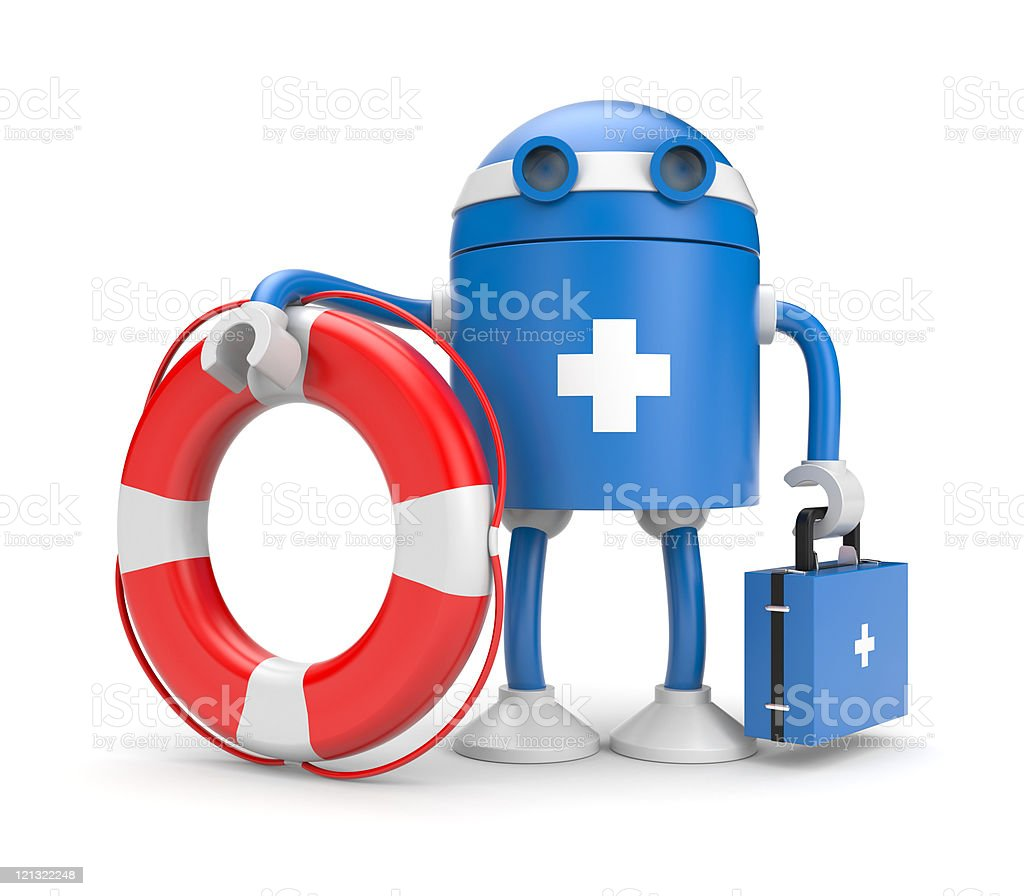 Robot with lifebuoy royalty-free stock photo