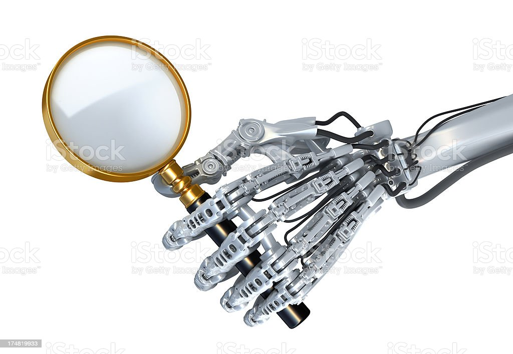 Robot  with magnifier royalty-free stock photo