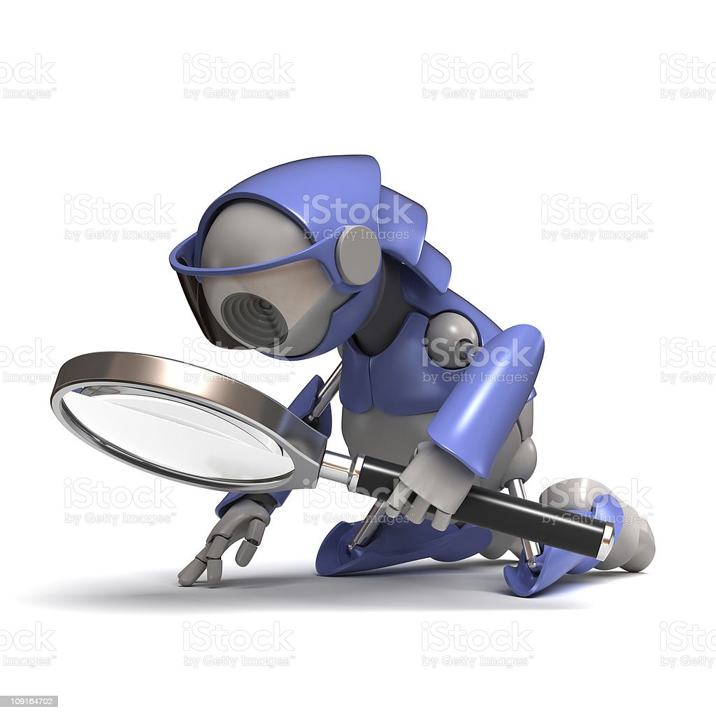 Robot with magnifying glass stock photo