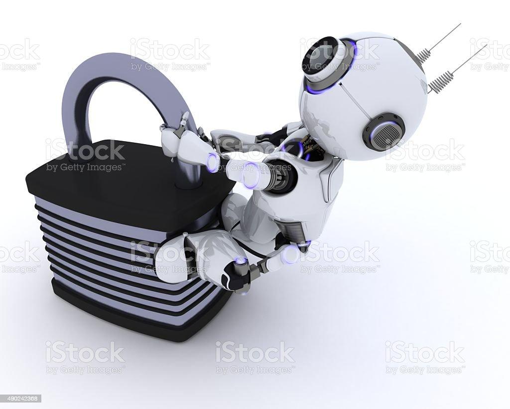 Robot with padlock stock photo