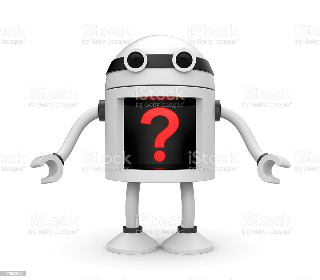 Robot with question royalty-free stock photo