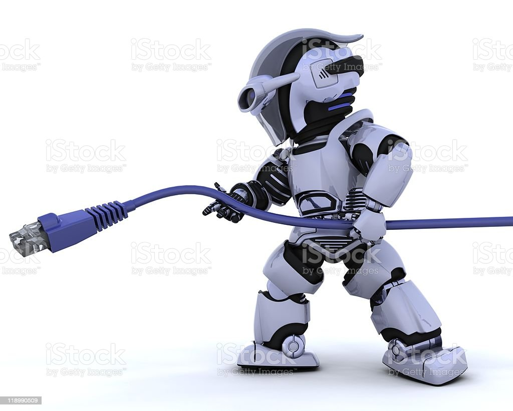 robot with RJ45 network cable royalty-free stock photo