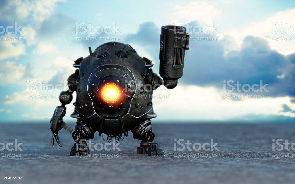 Robot with rocket launcher stock photo