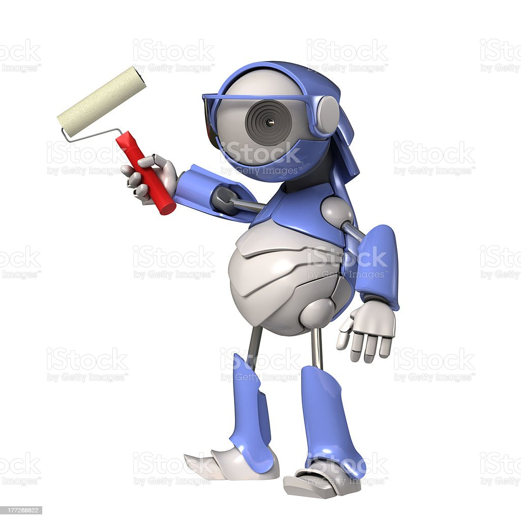 Robot with roller stock photo