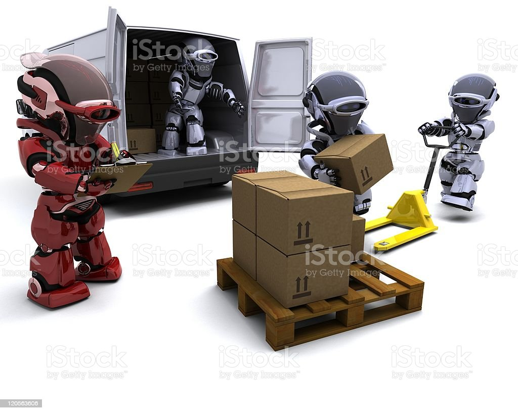Robot with Shipping Boxes loading a van royalty-free stock vector art