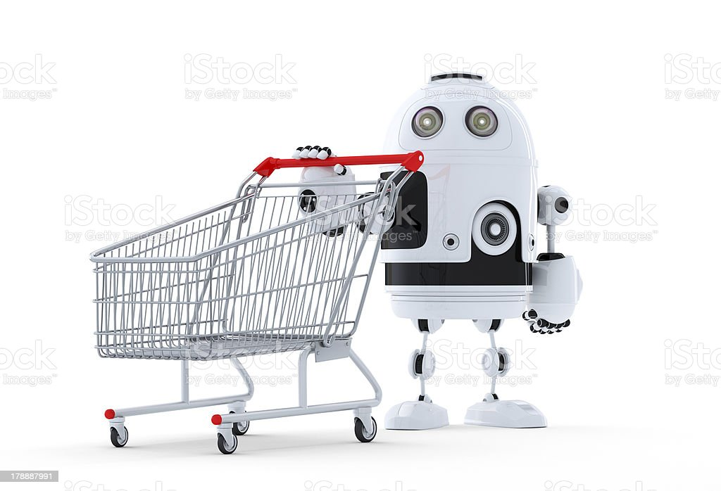 Robot with shopping cart. royalty-free stock photo