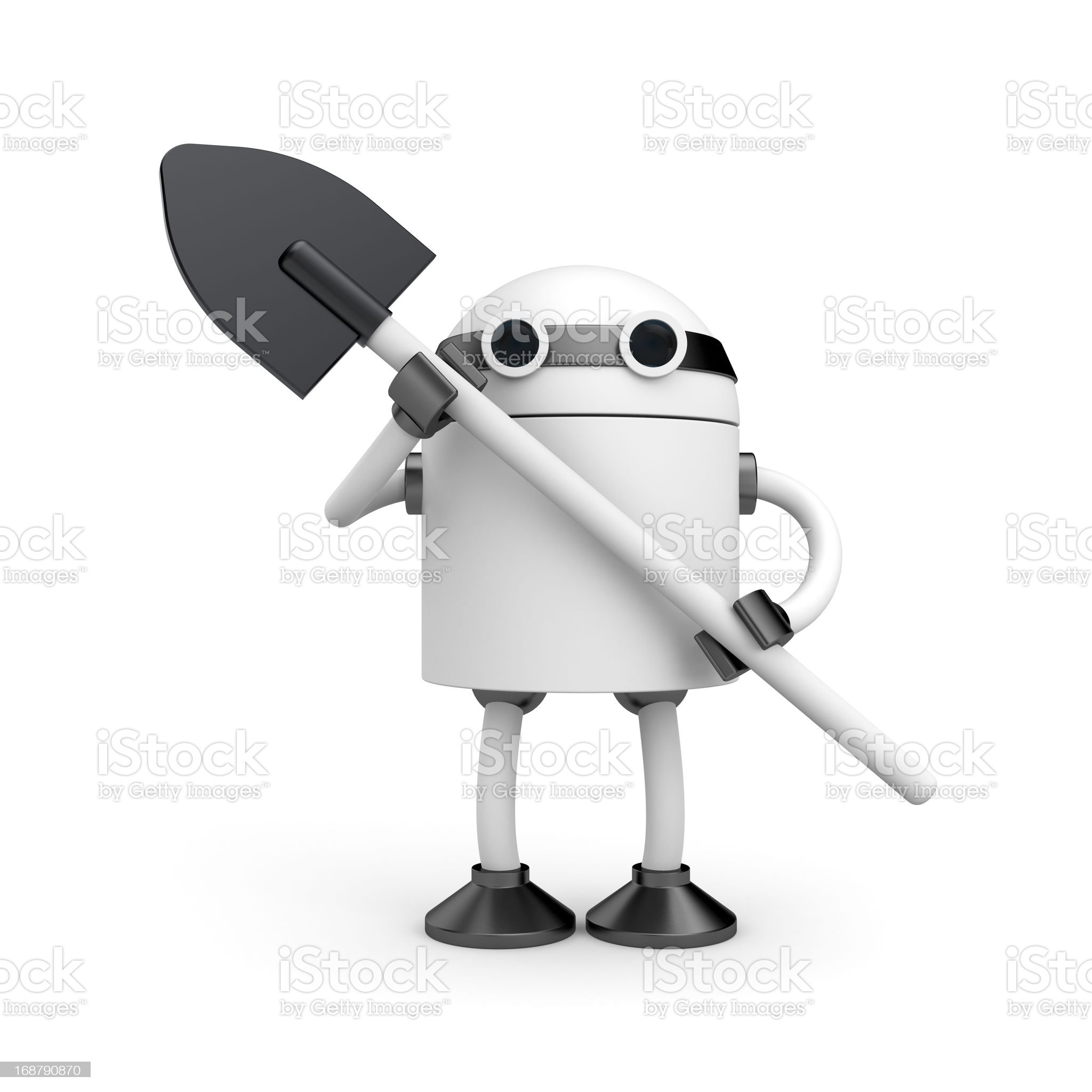 Robot with shovel royalty-free stock vector art