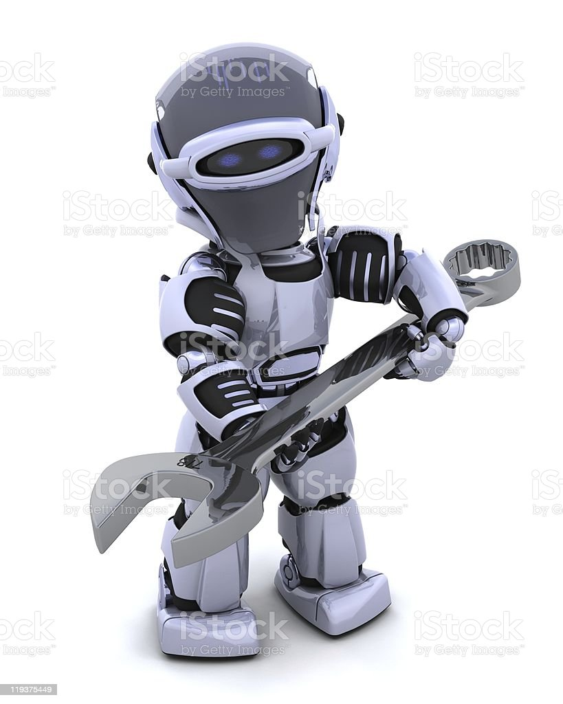 robot with spanner stock photo