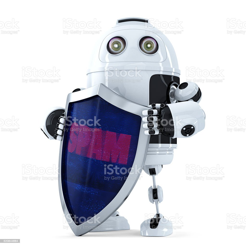 Robot with the shield. Spam protection concept. Isolated. Clipping path stock photo