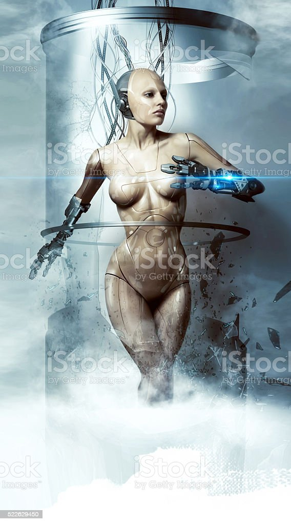 Robot woman. Cyborg. Future technologies. stock photo
