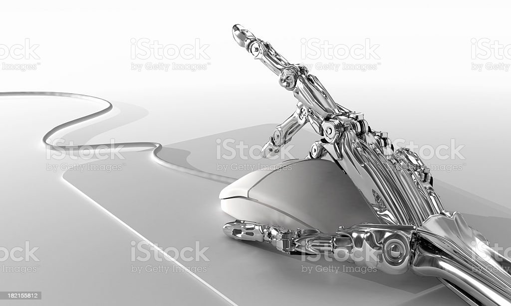 Robot working in office stock photo