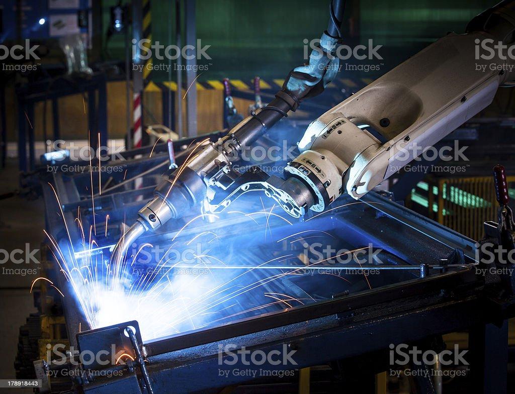 Robotic arm welding. stock photo