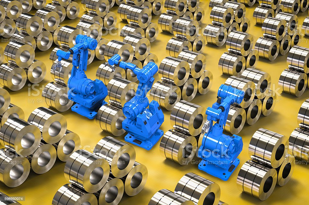 robotic arms with roll of steel sheets stock photo